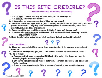 Credible Internet Resources - 10 things to consider when d
