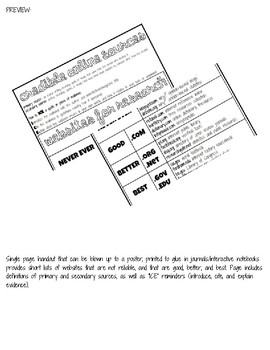 Credible Reliable Sources Online Handout Notebook Poster