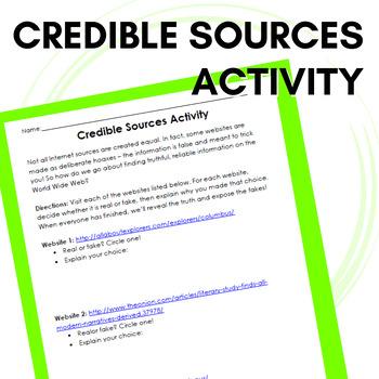 Credible Sources Worksheet