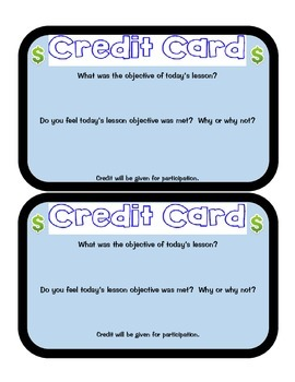 Credit Card Exit Tickets