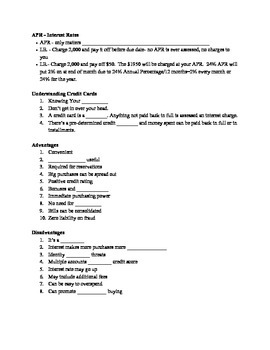 Credit Card Note Sheet (Credit Cards, Scores and Advice)
