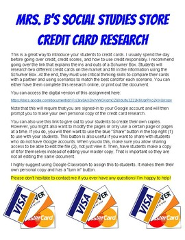 Credit Card Research and Scenarios