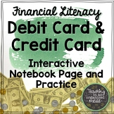 Credit Card Versus Debit Card Math Notebook Page Financial Literacy TEKS 6.14b
