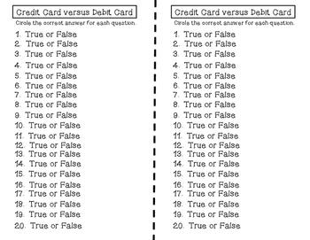 Credit Card versus Debit Card Exit Tickets TEKS 6.14B