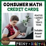 Credit Cards - Consumer Math Unit (Notes, Practice, Test,
