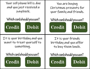 Credit Or Debit Task Cards