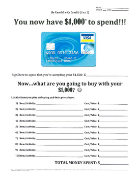 Credit (Part 1 of 8) - How will you spend $1,000?
