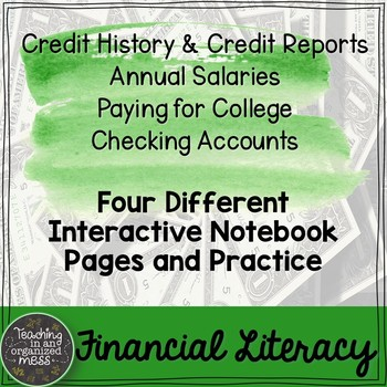 Credit Reports, Checking Accounts, Paying for College, Salaries Math Notebook