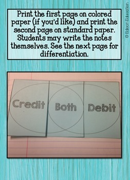 Credit vs. Debit Foldable Notes {Differentiated}