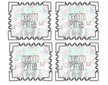 Credito Extra // Spanish Extra Credit Coupons // Llama Cards