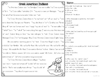 Creek Indians Differentiated Reading Passages & Questions