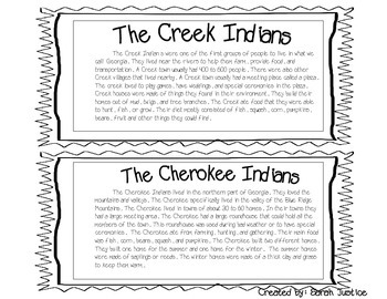 Creek and  Cherokee Indians compare and contrast activity.