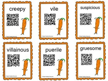 Creepy Carrots QR codes for vocabulary extension and reading comprehension