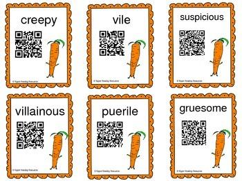 "Halloween: ""Creepy Carrots"" vocabulary & reading comprehension QR Code Cards"