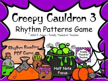 Creepy Cauldron 3 Rhythm Patterns Game {Half Note Set}