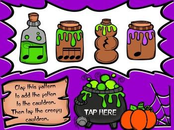 Creepy Cauldron 4 Rhythm Patterns Game {Sixteenth Notes Set}
