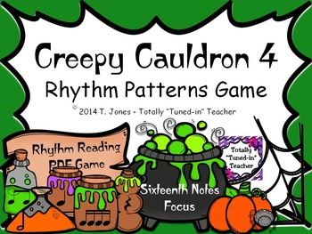 Creepy Cauldron 4 Rhythm Patterns Game {Sixteenth Notes Set}