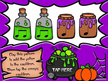 Creepy Cauldron Rhythm Patterns Game - Quarter and Eighth Notes Edition