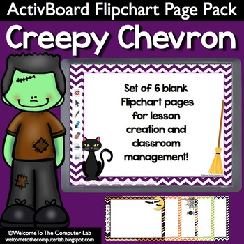 Creepy Chevron Halloween ActivInspire Flipchart Page Pack