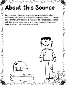 Creepy Classifications: Adjective Practice ***Halloween Themed***