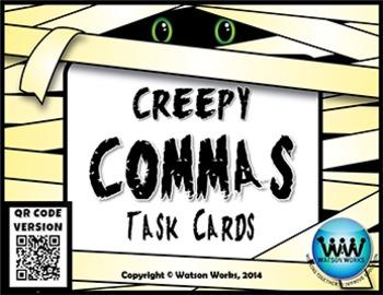 Creepy Commas Task Cards ~ QR Code Version