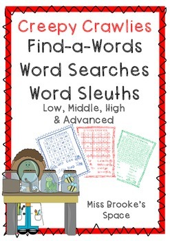 Creepy Crawlies Word Search Set