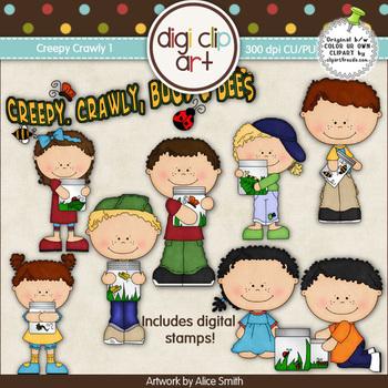 Creepy Crawly 1-  Digi Clip Art/Digital Stamps - CU Clip Art