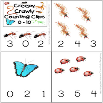 Creepy Crawly Counting Clips and Mats 0 – 10 Printables Plus Follow Up Pages