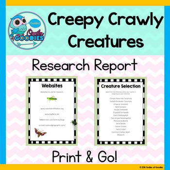 Research Report - Creepy Crawly Creatures (No Prep)