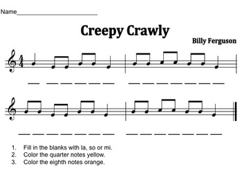 Creepy Crawly-PowerPoint  focusing on la, so, mi, quarter and eighth notes.