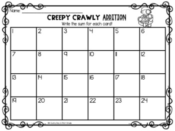 Creepy Crawly Scoot {addition to 20!}