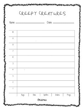 Creepy Creatures Free Halloween Graphing Activity