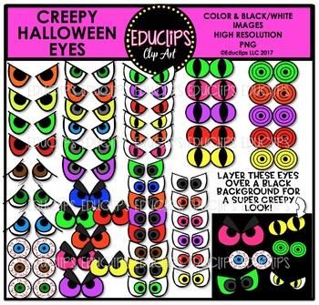 Creepy Halloween Eyes Clip Art Bundle {Educlips Clipart}