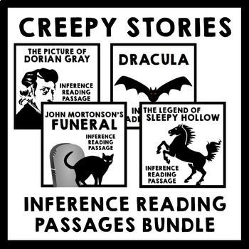 Creepy Stories Inference Reading Passage Bundle - 4 Activities + Freebie
