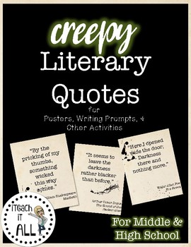 Literary Quotes | Creepy Literary Quote Posters By Iteach It All Tpt