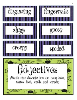 Creepy Pizza - Read Aloud Lesson Plan and Noun/Adjective Sorting Activity