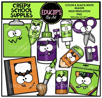 Creepy School Supplies Clip Art Bundle {Educlips Clipart}
