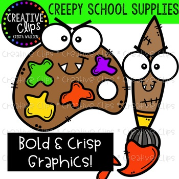 Creepy School Supplies {Creative Clips Clipart}