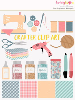 Craft & sewing supply symbols clipart, art class clipart (LC09)