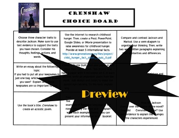 Crenshaw Choice Board Tic Tac Toe Novel Activities Assessment Project