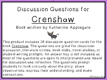 Crenshaw Discussion Question Cards