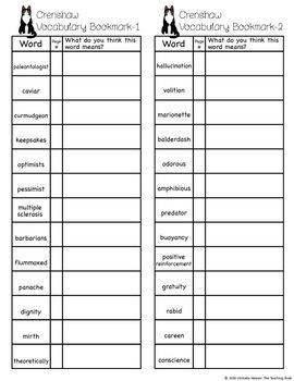 Crenshaw Vocabulary Packet
