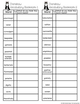 Crenshaw Vocabulary and Assessment Packet Bundle