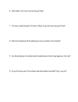 Crescendo! The Power Of Music Movie Reflection Worksheet