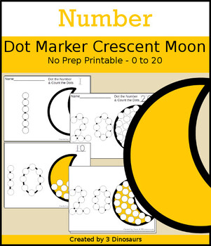 Crescent Moon Number Dot Marker & Counting