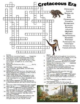 Cretaceous Era Crossword
