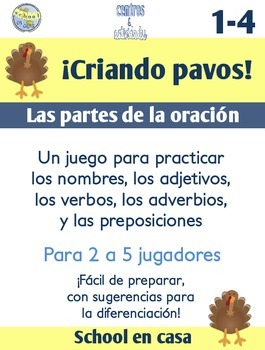 Criando pavos! A Turkey-Themed Parts of Speech Game {Spanish}