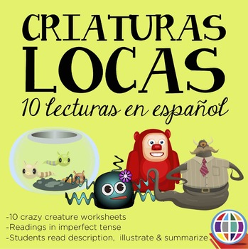 Criaturas locas: imperfect tense in Spanish reading worksheets