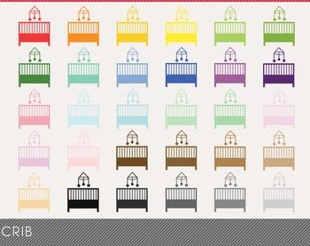 Crib Digital Clipart, Crib Graphics, Crib PNG, Rainbow Crib Digital Files