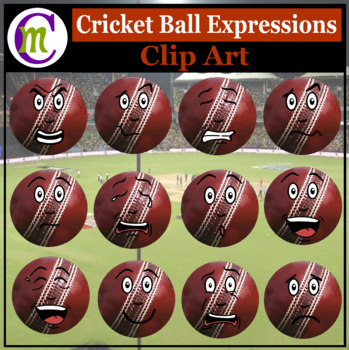 Cricket Ball Expressions Clipart | Sports Ball Emotions Clip Art